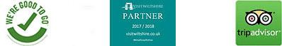 Visit Britain: We're Good to Go Logo - Visit Britain: We're Good To Go Logo - Visit Wiltshire Logo - Trip-Advisor Logo